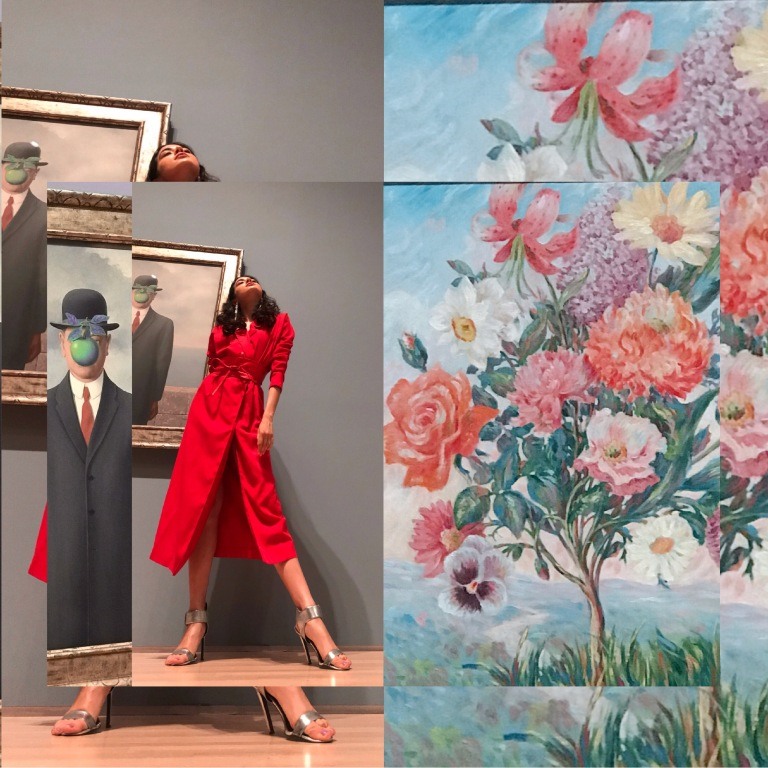 Bowler Hat Fashion, Rene Magritte SF MOMA, San Francisco Fashion Blogger, SF FASHION, SF MOMA Magritte, Asha Raval, Red Dress, Fashion Blogger San Francisco, Rene Magritte The Fifth Season, Art Museum Fashion Editorial, Fashion Editorial 2018, Surrealism Fashion, Surrealism painting