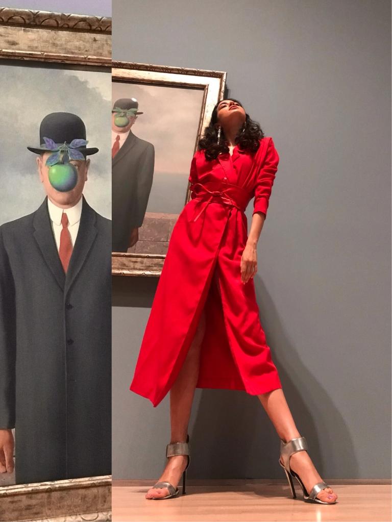 Rene Magritte SF MOMA, San Francisco Fashion Blogger, SF FASHION, SF MOMA Magritte, Asha Raval, Red Dress, Fashion Blogger San Francisco, Rene Magritte The Fifth Season, Art Museum Fashion Editorial, Fashion Editorial 2018