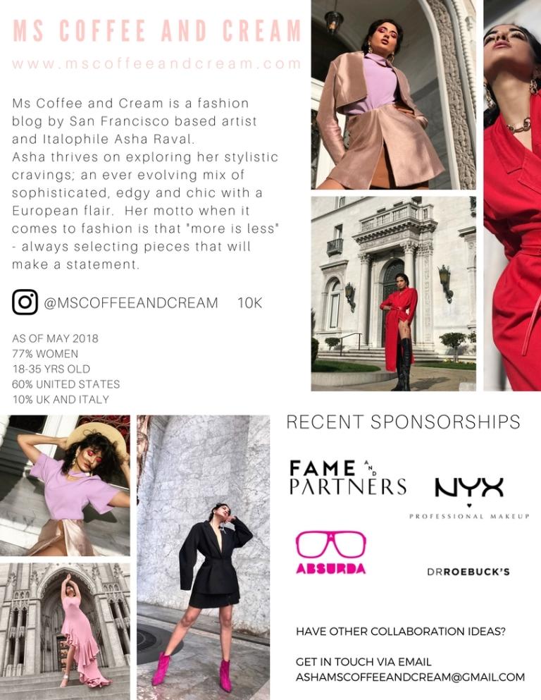 Ms Coffee and Cream Fashion Blog Press Kit, Asha Raval Media Kit, Fashion Blog Press Kit, Fashion Blogger Media Kit, Instagram Media Kit, Best Fashion Blog, America Fashion Blogger 2018, San Francisco Fashion Blogger, Asha Raval, Best Fashion Niche Instagram 2018, Fashion Blogger Style, Fashion Editorial 2018