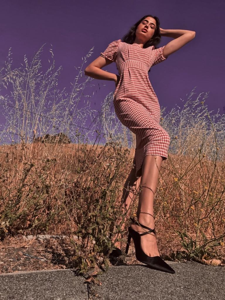 Asha Raval, Fashion Editorial, Gingham Dress, Zara Black Pumps, Vogue